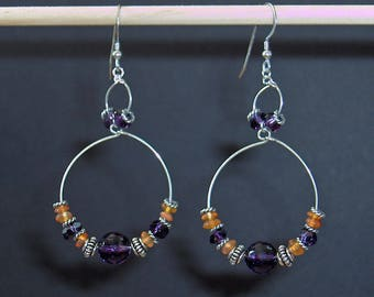 Amethyst, Carnelian, Bali Sterling Silver Bead Double Hoop Earrings. Upscale, Chic. Unexpected and Rich Uncommon Combination of BOHO Spirit