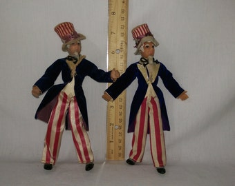 """7"""" Uncle Sams by the Flagg Doll Company."""