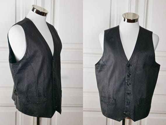 Private Image European Leather Vest, Black Leather, Motorcycle Biker Hipster Vest: Size Medium 42 US/UK