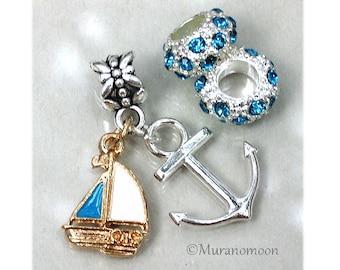 Sailboat Charm Bracelet Charm Fit European Bracelet Large Big Hole Sailboat Dangle Charm Boat Anchor Personalize Birthstone Crystals #DC51