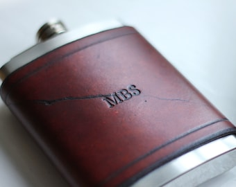 Personalised Leather Flask 8oz, Hip Flask, Groomsmen Flask Gift, Custom Hip Flask, Monogram, Handmade Gift For Him