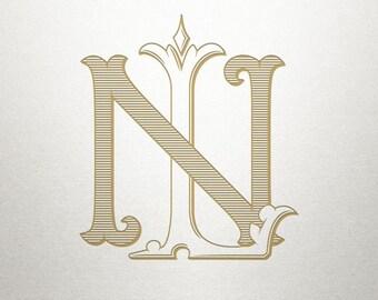 Custom Bridal Monogram - LN NL - Bridal Monogram - Vintage