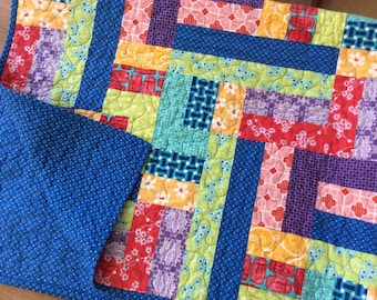 Modern Lap Quilt, Rainbow Quilt, Handmade Patchwork Blanket, Homemade Quilts for Sale, Ready to Ship