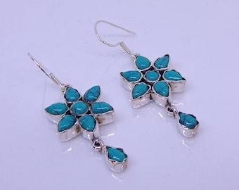 Turquoise flower drop earrings