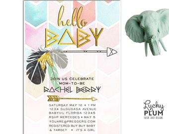 Boho Arrow Baby Shower Invitation / Bohemian Feather Invite / Geometric Twin Couple Invite / Indian Tribal Gold Invite / *Digital file*