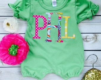 Baby girls personalized monogram romper newborn outfit hospital outfit going home outfit by sweet sprouts