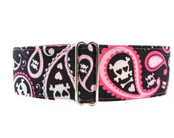 Pink Martingale Dog Collar, Paisley Martingale Collar, Paisley Dog Collar, Skull Martingale Collar, Skulls Dog Collar, Large Dog Collar