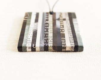 Classic newspaper necklace • Contemporary necklace • Gift for journalist female • Recycled gift for her • Professor gift • Upcycled jewelry
