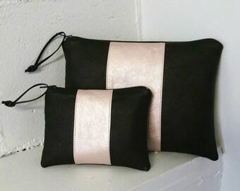 Vegan leather large pouch - black with blush metallic racing stripe - faux leather clutch - vegan bag - makeup bag - clutch - purse