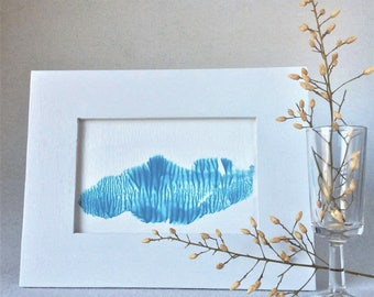 Small abstract painting | desktop art | framed fluid painting | small blue painting | tabletop decor | small wall art | one of a kind gift