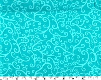 1 Yard, Scroll on Teal Cotton