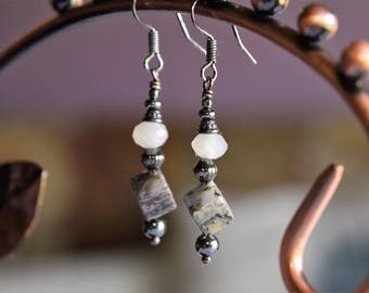 Gunmetal Cube Drop Earrings (09)