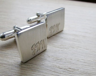 Cuff links, groomsmen gift, best man gift, wedding, cufflinks, engraved, quality, premium, sterling silver, square, modern