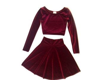 Two Piece Set Long Sleeve Velvet Dress