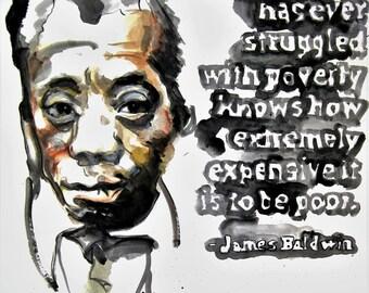 James Baldwin Art Print Writer Poet Watercolor Illustration Portrait Black Art Wall Decor Limited Edition Poster Print