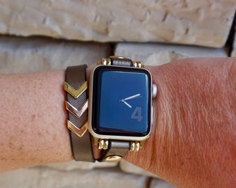 Bronze Double Wrap Leather Apple Watch Band Strap for iWatch, Adapter 38mm/42mm, Bronze with Gold accents