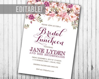Floral Bridal Luncheon Invitation
