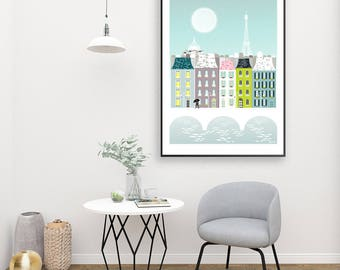 Paris Print Skyline Poster, Large Paris Wall Art Poster, Cityscape Illustration, Valentines, Paris gift, Wedding gift, Anniversary gift