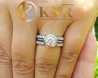 14k white gold round forever one moissanite and diamond engagement ring and bands bezel deco bridal wedding anniversary halo propose 1.80ct