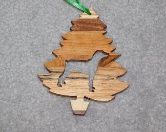 Wood Christmas Tree Dog Ornament -  Doberman