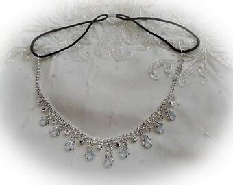 1920's flapper Gatsby style rhinestone elastic forehead  headband