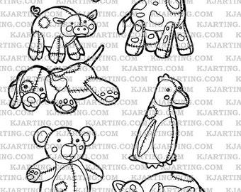 Stuffed Animals Toys Plushy Penguin Dog Cat Bear Giraffe Pig Digital Stamp Set (Line_Art Printable_00007 KJArting)
