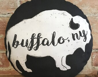 Black Round Buffalo, NY Pillow