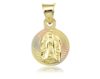 10K Solid Yellow White Rose Gold Virgin Mary Round Medal Pendant - Tricolor Lady of Guadalupe Necklace Charm