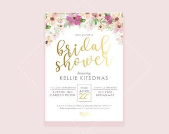 Watercolor, Greenery, Botanical, Floral, Vintage, Floral Bridal Shower, Modern Floral Invitation, Bridal Shower, Baby Shower, Classy