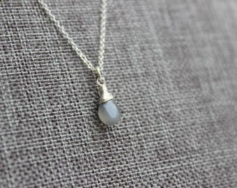 Gray Moonstone Sterling Silver Necklace