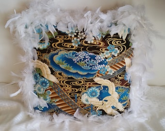 Feathered Blue Brown Throw Pillow Cranes Rhinestones Gold Fancy Decorative Accent Add a Splash of Color