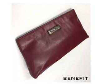 Vintage Etienne Aigner Leather Clutch Burgundy Wine Bordeaux Slim Handbag Purse 1980s Casual Retro