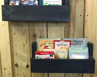 Painted Nursery Bookshelf Pair, Nursery Book Shelf, Book Shelves, Hanging Book Shelves, Pallet Book Shelf