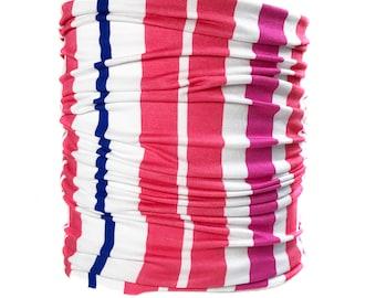 Pink Stripe Head Hugger, Summer Print Bandeau Headband, Pink Headwrap Bandeau, Extra Wide Headband (#1611) S M L X