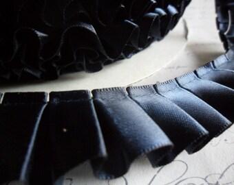 Navy  Blue Satin Box Pleat  Ruffle Trim 7/8 inch