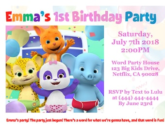 Word party birthday invitation custom word party birthday word party birthday invitation custom word party birthday party invite digital printable word party invitation word party birthday stopboris Image collections