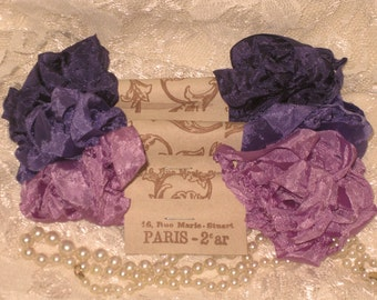 French Inspired Seam Binding Ribbon Distressed and Scrunched  - La Violette Deep - French Marche (SB003)