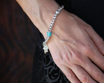 Perle Bracelet - Bijoux de main Hamsa - perle d'argent bracelet pour les femmes - Boho Bracelet pour les femmes - argent Bracelet Stacking