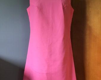 "Bubble Gum Pink Vintage 1960s Sheath Betty Draper Dress ""pearls"""