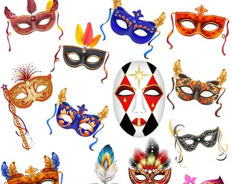 Mask Clipart, Masquerade Clipart, Carnival Mask Clip Art, Carnival Mask, Digital Download Mask, Masquerade Party Image, PNG Files