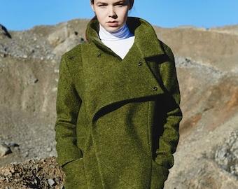 Wool Coat, Green Wool Coat, Women Winter Coat, Maxi Coat, Trendy Plus Size Coat, Women Jacket, Long Coat, Green Winter Jacket,