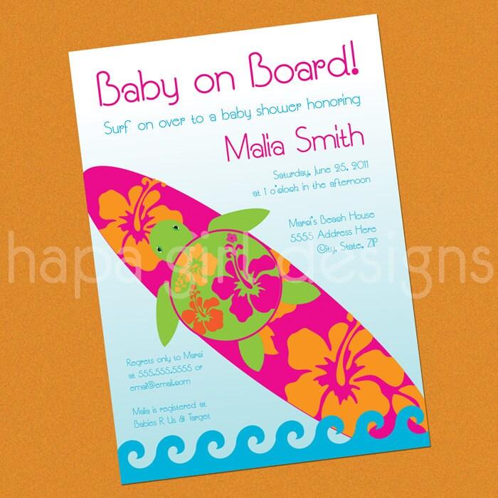 Personalized DIY Printable Invitation Surfing Hawaiian Honu