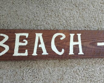 Wood beach sign, reclaimed wood sign, painted beach sign, barn wood sign, beach house decor, beach house sign, reclaimed barn wood sign