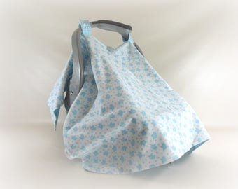 Car Seat Canopy, Car Seat Cover, Cart Cover, Play Mat, Blanket in Blue Elephant Print