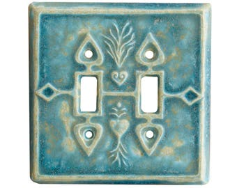 Charms Double Toggle Ceramic Light Switch Cover in Aqua Stone Glaze