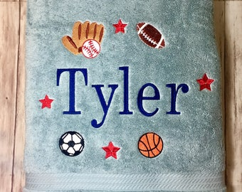 Bath Towel/Boys Bath Towel/Mulit Sports Bath Towel/Personalized Boys Bath Towel/Boys Gift/Soccer, basketball, Baseball, Football Towel