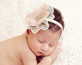 Vintage lace mauve dainty headband for newborn baby girls, flower girls, girls, toddlers, Swarovski Rhinestones