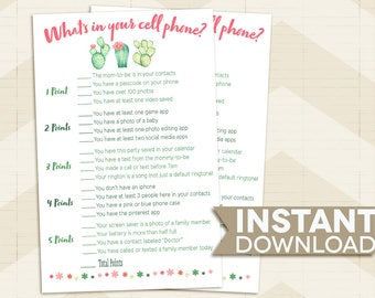 What's in your Cell Phone? BABY SHOWER game / Cactus Baby Shower game / succulents / desert / pink / green