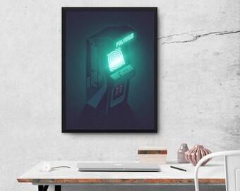 Polybius Arcade Game Machine Cabinet Poster Art Print