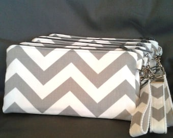 Bridal Party Grey Chevron Wristlet Set of 7 plus Bonus Flower Girl Wristlet